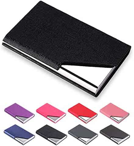 1d704e9ba0c0c Padike Business Name Card Holder Luxury PU Leather    Stainless Steel Multi Card  Case