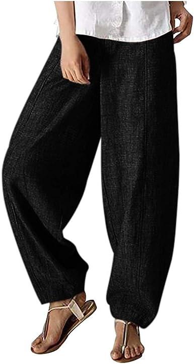 Pantalón Ancho de Lino y Algodón Mujer, Otoño Verano 2019 Baggy Pantalones con Bolsillo Pantalón de Pierna Ancha Color Sólido Pantalón de Pierna Anchas Casual Largo Pantalones Outdoor Pantalones: Amazon.es: Ropa y
