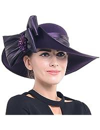 Women Wool Felt Plume Kentucky Derby Church Dress Wide Brim Winter Hat (Z0013-Purple)