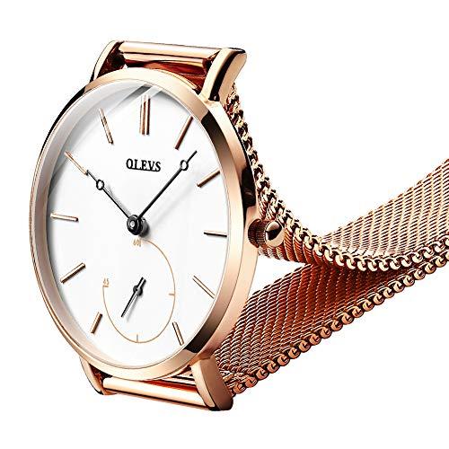 OLEVS Women Ultra Thin 6.5mm Quartz Rose Gold/Black Mesh Steel Wrist Watch with Free Adjust Screwdriver, Waterproof & Date Window (White Chronograph dial & Rose Gold Band)