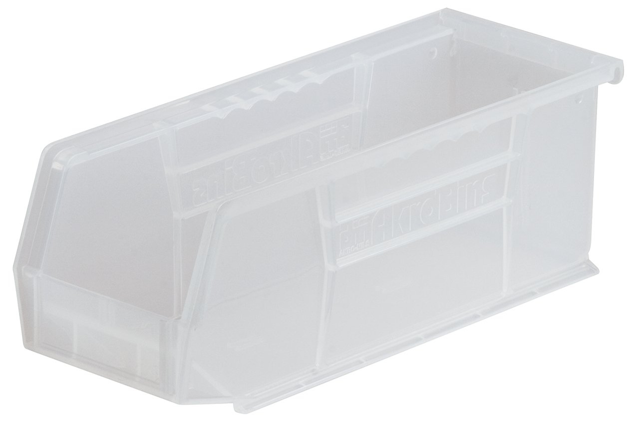 Akro-Mils 30224 Plastic Storage Stacking AkroBin, 11-Inch by 4-Inch by 4-Inch, Clear, Case of 12