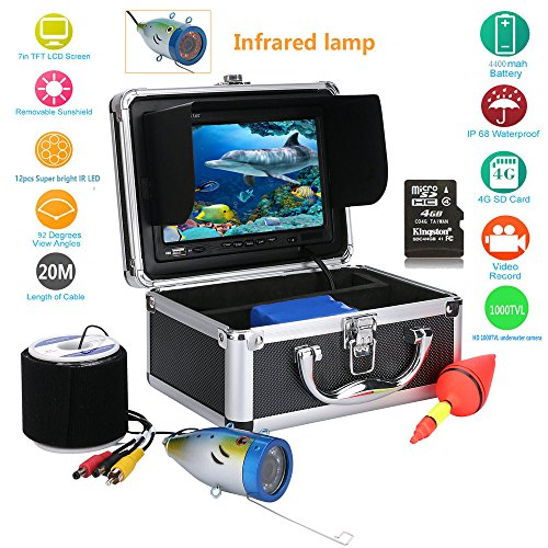 JINPENGPENG Underwater Fish Finder HD Underwater Camera 7 inch TFT Color Display CCD and HD View DVR Function 1000 TVL Camera kit (20M)