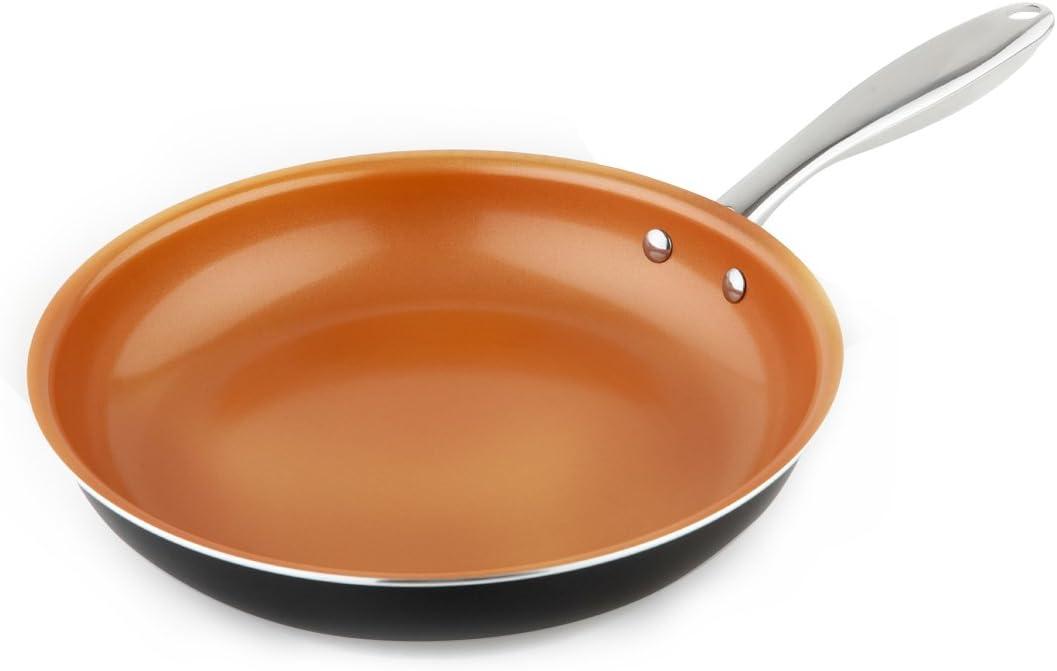 MICHELANGELO Copper Frying Pan Nonstick, 11 Inch Frying Pan with Ultra Nonstick Titanium Coating, Nonstick Skillet, Copper Pan, Titanium Frying Pan Induction - 11 Inch