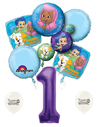 1st Birthday Bubble Guppies Party Decorations Balloon Bouquet Bundle ()