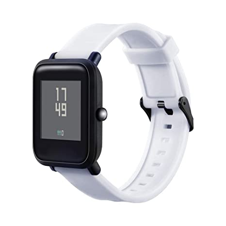 Malloom Correa de Silicona Doble Ranura Correa de Reloj de Silicona Suave Correa de muñeca para Xiaomi Huami Amazfit Bip Youth Watch (Blanco)