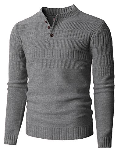 Grey Wool Henley Sweater - H2H Men's Speckled Long Sleeve Sweater Henley Lightgray US S(Asia M)