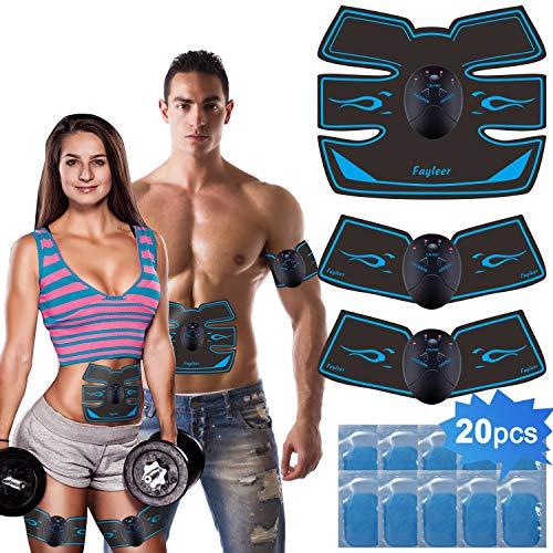 🥇 fayleer Electroestimulador Muscular Abdominal Estimulador Muscular Abdominal para Abdomen Cintura Pierna Brazo Glúteos para Hombre y Mujeres con 20PCS Reemplazo Gel Pad