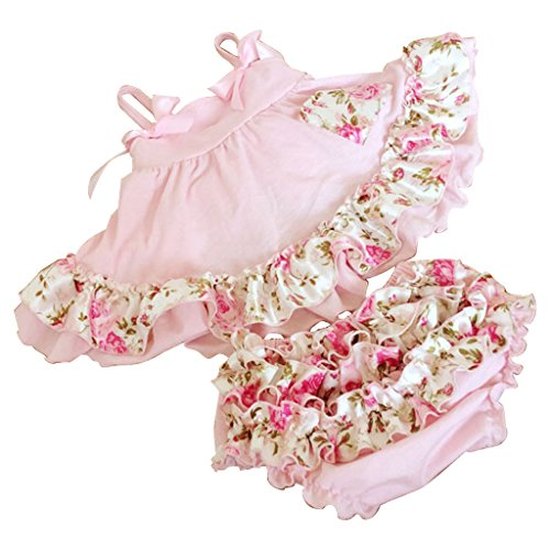 Baby Girls Outfits Clothes Pink Rose Flower 2 Piece Swing Top and Bloomer Sets M:6-15Months
