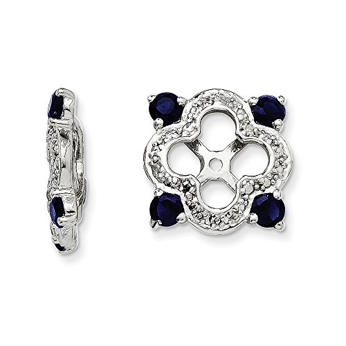 Mia Diamonds 925 Sterling Silver (.014cttw) Diamond and Simulated Sapphire Earring Jacket (11mm x 11mm) by Mia Diamonds and Co.