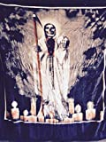 75''x90'' Mexican ,Santa Muerte, Blanket, religious ,2inONE print, Korean Sumptuous knitted raschel mink .also can be Used as ''adult bed throw, bedspread,quilt,comforter,bed cover, coverlet''