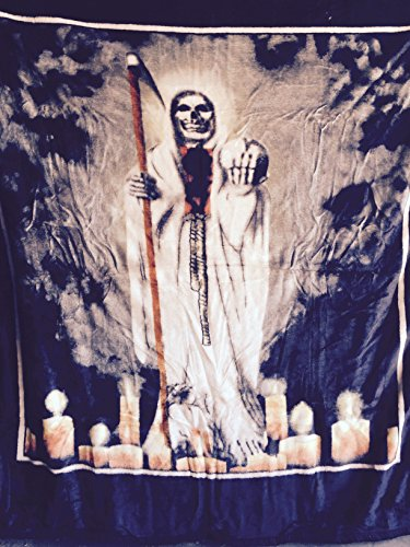 75''x90'' Mexican ,Santa Muerte, Blanket, religious ,2inONE print, Korean Sumptuous knitted raschel mink .also can be Used as ''adult bed throw, bedspread,quilt,comforter,bed cover, coverlet'' by Santa Muerte Blanket