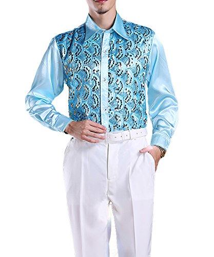 Mens Dress Shirt Sequins Long Sleeve Button Down Premium Elegant Party Suit Shirt Sky Blue