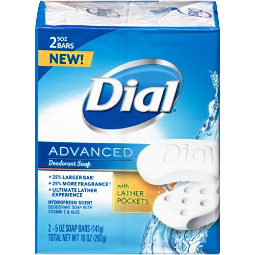 Dial Advanced Bar Soap, Hydrofresh Scent, 5 Ounce Bars, 2 Count (Pack of 24)