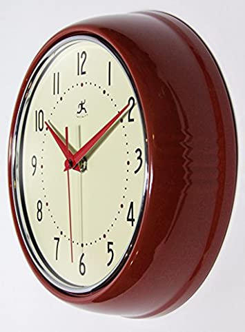 Infinity Instruments Round Silent Red Retro Indoor Wall Clock
