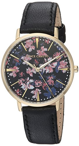 Vince Camuto Women's VC/5348BKBK Floral Pattern Dial Black Leather Strap Watch