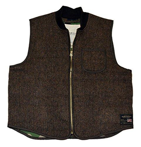 RALPH LAUREN Polo Denim & Supply Mens Tweed Wool Zip Vest Jacket Brown Camo XL