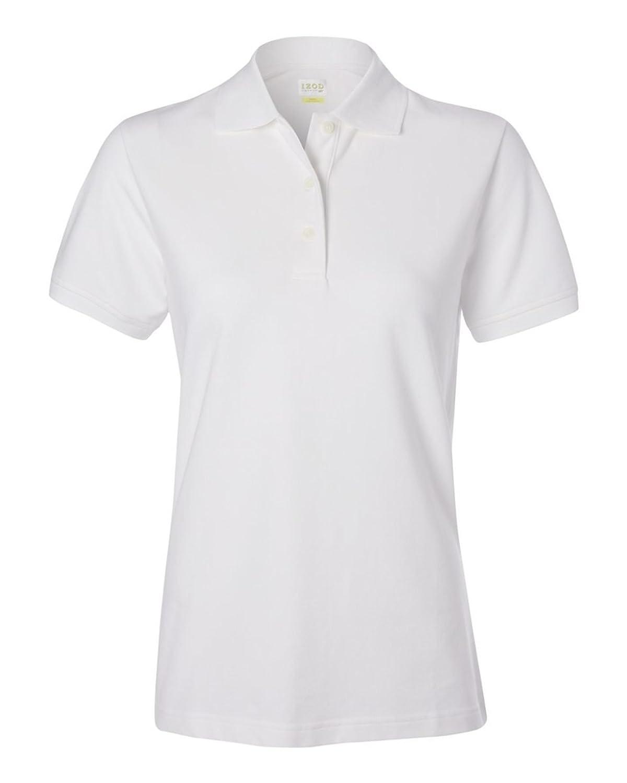 IZOD Ladies' Classic Silkwash Pique Sport Shirt, White, 2XL