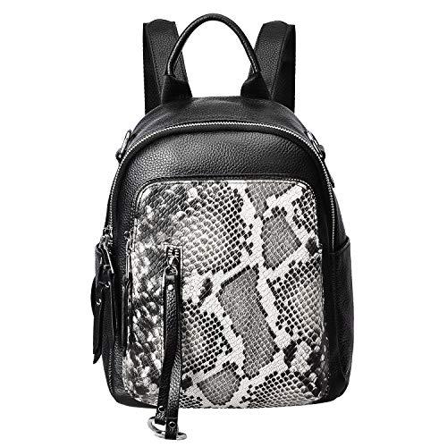 ALTOSY Fashion Genuine Leather Backpack Purse for Women Shoulder Bag Causal Daypack (S10, Beige/Black)