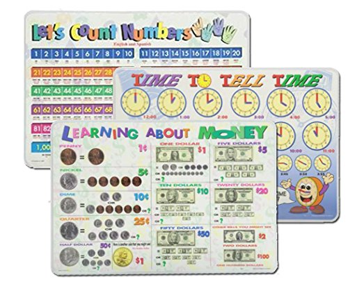 Learning Placemats: Telling Time, Counting Numbers, Learning Money Placemat for Kids | 3 Dry Erase Mats Set (Counting Placemat)