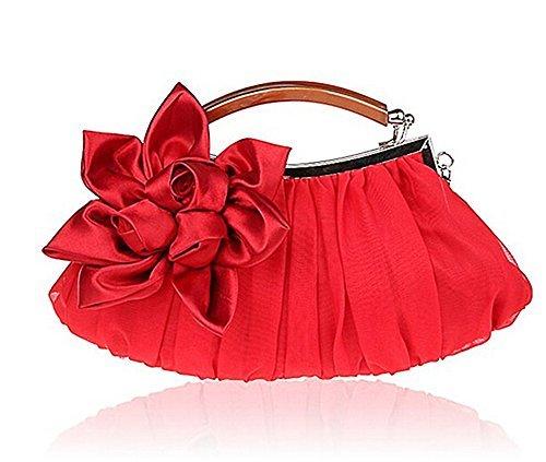 Rojo Rojo 29 Mujer Bodas para para de Seda y Bolso de DaoRier Ideal Bodas Fiestas Mano 15cm OFwfBaqq