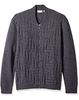 Calvin Klein Men's Full Zip Lambswool Textured Baseball Sweater