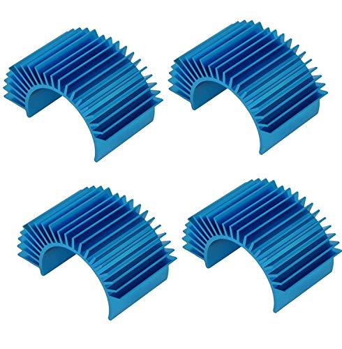 - 4 Pack Mirthobby Aluminum Electric Engine Motor Heatsink Cooling Heat Sink Fins for 550 540 3650 Size Brushed Brushless Motors RC Car Truck,Blue