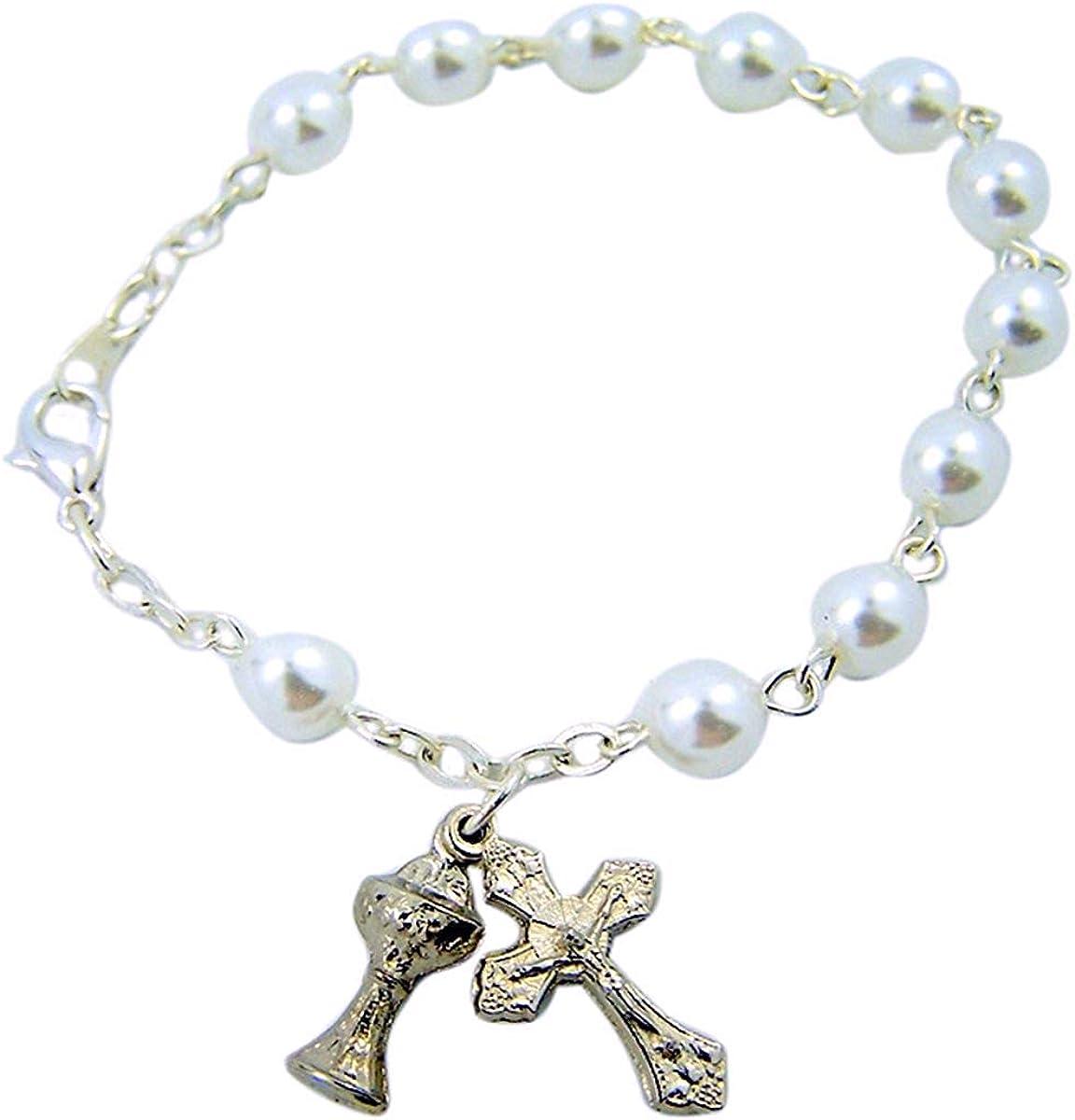 First Communion Gift Rosary Bracelet for Catholic Girls 7 Inch