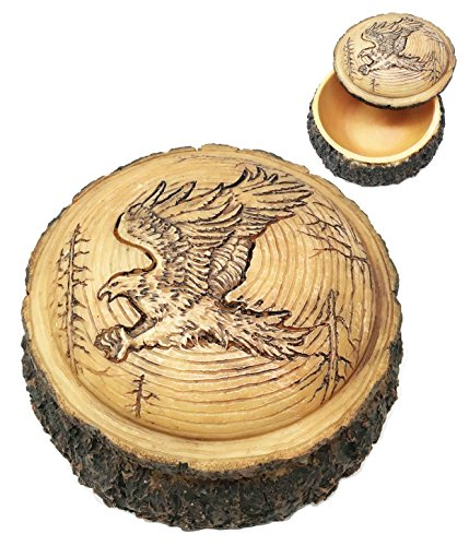 Beautiful Rustic Faux Wood Bald Eagle Swooping With Spread Out Talons For Prey Rounded Jewelry Box Figurine