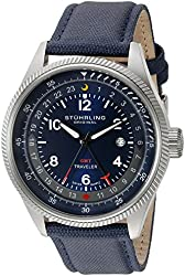 Stuhrling Original Men's 789.03 Aviator Stainless Steel Watch With Blue Leather Band
