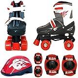 Sk8 Zone Boys Red Black Quad Skates Padded Kids Roller Boots Safety Pads Helmet Childrens Skate Set (Medium 13-3 (31.5-34.5 EU)