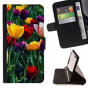 Momo Phone Case / Flip Funda de Cuero Case Cover - TULIPANES colorido del verano - Samsung Galaxy S6 Edge Plus / S6 Edge+ G928