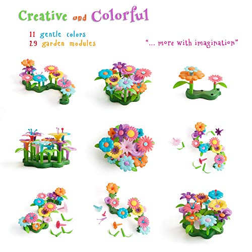 Life Frenz Build and Bloom Children Green Toy - DIY Creative Flower Set - 46 pcs - Preschooler Learning Kits - Building Blocks For Toddlers - 3 Year Old Gift Ideas - Best Gifts For 4 Year Old Boy Girl