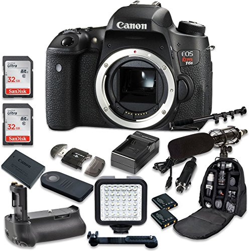 Canon EOS Digital Rebel T6s 24.2MP SLR Digital Camera Body Only + 2pc SanDisk 32GB Memory Cards + Battery Grip + Promotional Holiday Accessory Bundle (Special Promotional Bundle)