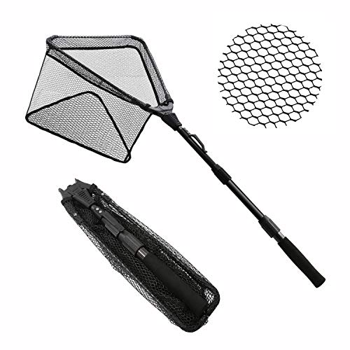 SANLIKE Collapsible Fishing Landing Net - Super Portable Foldable Fish Catching Net with Durable Rubber Coating Nylon Mesh Telescopic Pole Handle, Safe Fish Catching and Releasing with Skid-Resistant