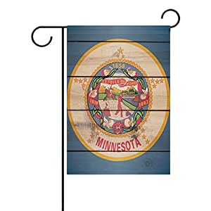 "ONEERA Minnesota Flag Wood Pattern American USA State Flag Weatherproof Polyester Garden Flag 12"" x 18"" Seasonal Home Banner"
