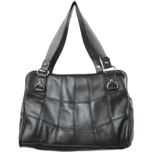 tela mujer negro cuero de Lorenz para Medium Bolso de qxw4xYRE
