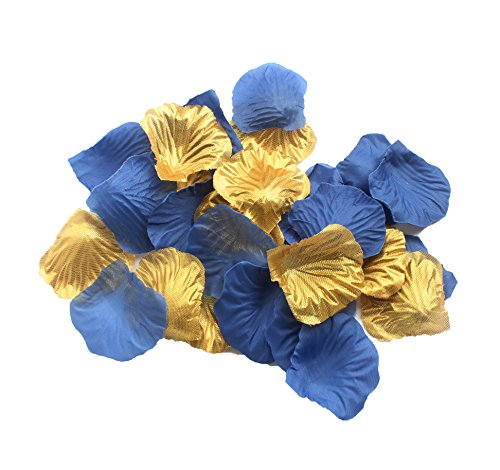 CheckMineOut Set of 600 Royal Blue & Gold Silk Rose Petals Artificial Flowers Wedding Centerpieces Decoration Confetti Party Favor (Table Flower Blue Centerpiece)