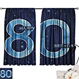 Jinguizi 80th Birthday Curtains/Panels/Drapes Diamond Age 80 Yeras Old Happy Birthday Party Theme with Stars Indoor Darkening Curtains Navy Blue and Sky Blue W55 x L39