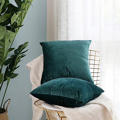 Miulee Pack of 2, Velvet Soft Soild Decorative Square Throw