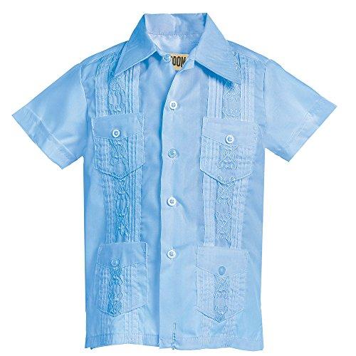 - Platoon Kids Boys Guayabera Short Sleeve Cuban Shirt Wedding Beach - Toddlers & Juniors (6, Light Blue)