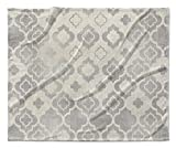 KAVKA Designs Taranto Fleece Blanket, (Grey/Ivory) - ENCOMPASS Collection, Size: 90x90x1 - (TELAVC1474SUB9)