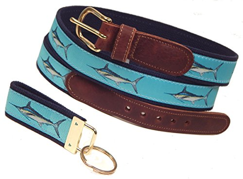 Preston Leather Marlin Belt, Ocean Blue, Sizes 30 to 50, FREE Matching Key Ring (Size 34)