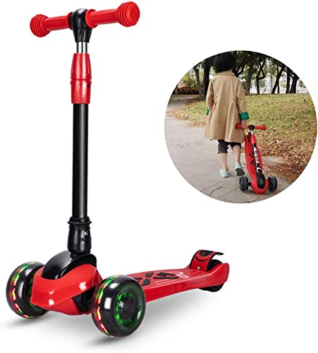 SUPER DADY Scooters for Kids Toddler 3 Flashing Wheel Foldable Kick Scooter for Girls Boys age3-12 with 3 Height Adjustable