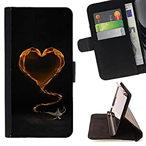 DEVIL CASE - FOR Samsung Galaxy Note 3 III - Yellow Heart and tea - Style PU Leather Case Wallet Flip Stand Flap Closure Cover