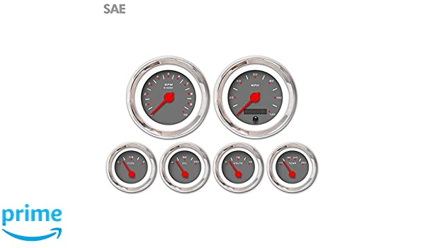 Red Modern Needles, Chrome Trim Rings, Style Kit DIY Install Aurora Instruments 3250 Pegged Dark Gray SAE 6-Gauge Set