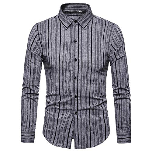 Shirts with Button-Down Collar Standard-Fit Long-Sleeve Autumn Winter