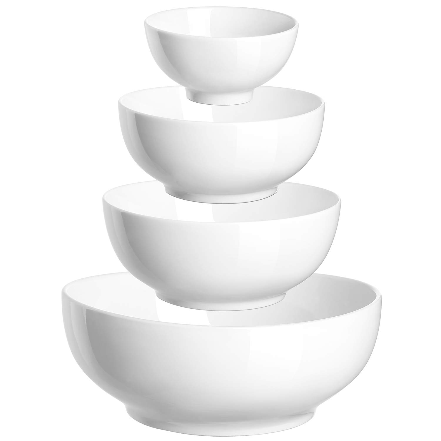 "DOWAN 4-Piece Porcelain Serving/Mixing Bowl Set (Diameter:4.5""-6""-7""-9""), Anti-Slipping Nesting Bowls"
