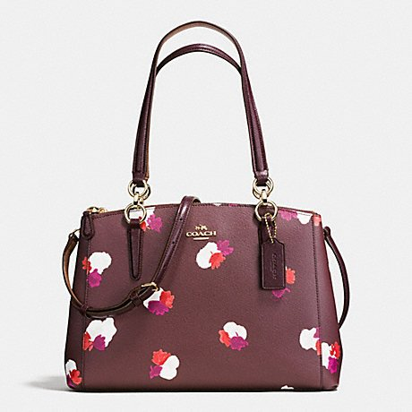 SMALL COACH CHRISTIE CARRYALL IN FIELD FLORA PRINT COATED CANVAS F38443,IMITATION GOLD/BURGUNDY MULTI