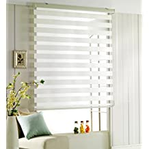 Custom Cut to Size , [Winsharp Woodlook 47 , White , W 63 x H 64 inch] Horizontal Window Shade Blind Zebra Dual Roller Blinds