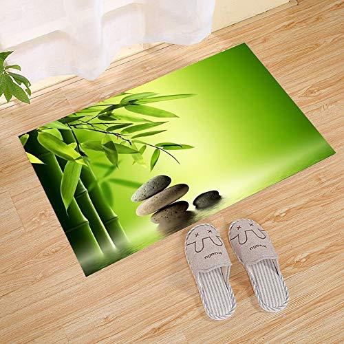 JANNINSE Ecological Green Bamboo Leaves Brown Cobblestone Lake Water Natural Vertical Stripes Small Door Mat, Super Thick Door Mat | Entrance Door Mat For Patio, Front Door | Decorative Season